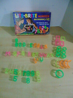 1968 Vintage Hasbro LITE-BRITE Pegs Number Accessory Kit RARE Not Complete
