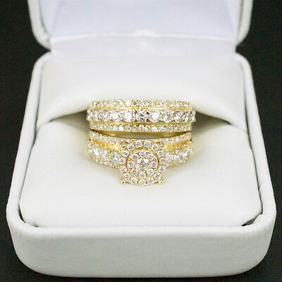 Sterling Silver 14k Yellow Gold Round Diamond Engagement Wedding Ring Set Size 7