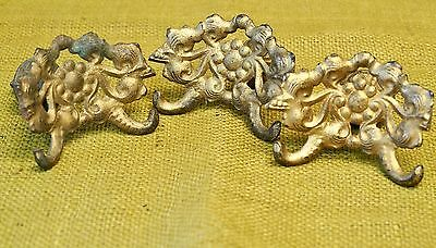 Vintage/Antique Set of 3 Ornate Brass Victorian Draw Pull Hollywood Regency Hook