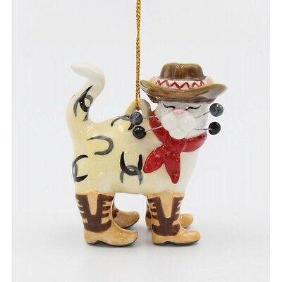 ✜ WHIMSICLAY CAT Kitten Ornament Collection Cowboy