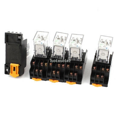 5 Pcs HH53PL DIN Rail Mounting Electromagnetic Relay DC 24V Coil 3PDT 11Pin 35mm