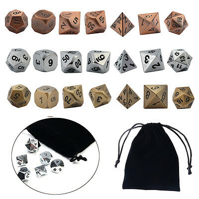 7Pcs/set Dice Bag Metal Polyhedral Role Playing Game For Dungeons & Dragons RPG