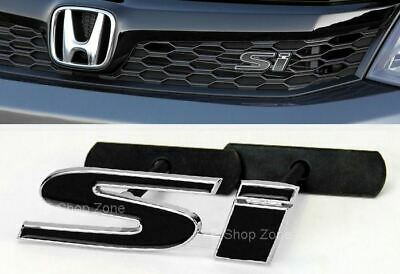 """Bolt On 4"""" x 1.2"""" SI Black Grill Grille Emblem Decal Logo Badge for All  Civic"""