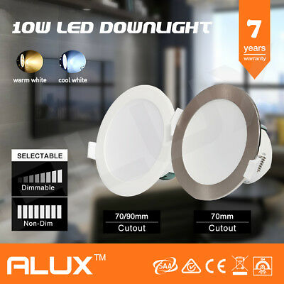 10W Led Downlight Kit Warm & Cool White & Satin Frame Dimmable Non Dim Ip44 Saa