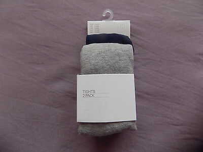 H&M 2 Pack Dark/Navy Blue and Grey Baby Boy Tights Size 0-1-2 months