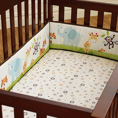 4Pcs Baby Infant Cot Crib Bumper Safety Protector Toddler Nursery Bedding Set