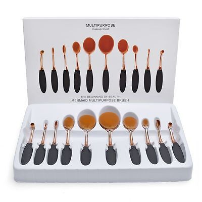 10Pcs Black Gold Beauty Toothbrush Shaped Oval Cream Puff Makeup Brushes Set Kit
