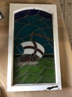 Stained Glass Window English Flag Derived From St George Cross Design