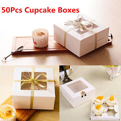 Lot 50 Paper Window 4 Hole Cupcake Muffin Insert Packing Box Wedding Party Favor