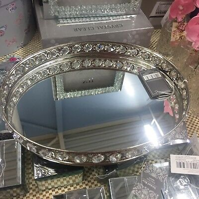 Vanity Tray Mirror Display Oval with Crystals  - Mirrored Stylish Storage Plate