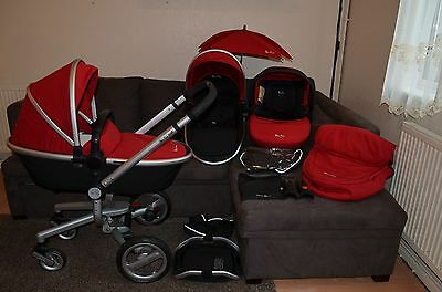 Full Travel System Silver Cross Surf in Red inc car seat and accessories