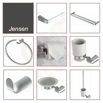"""NEW! Quality Chrome """"Jensen"""" Bathroom Wall Accessories (7 Pieces)"""