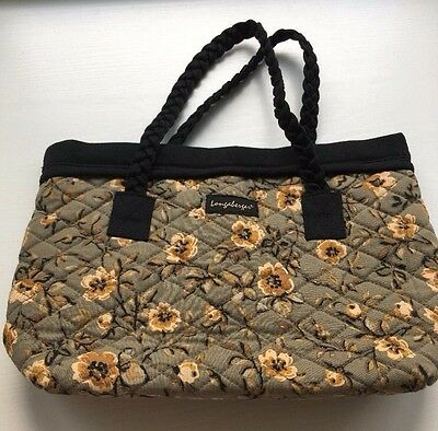 LONGABERGER Floral Black Braid Handle Quilted Small Tote Purse Bag Bee Pattern