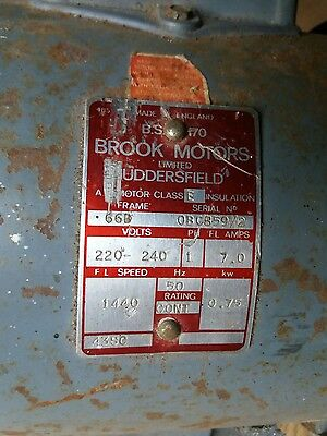 0.75KW BROOKE ELECTRIC MOTOR 240v SINGLE PHASE 1440 RPM