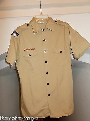ADULT MEDIUM Mens Tan Official Boy Scout Leader UNIFORM SHIRT FREE USA SHIPPING
