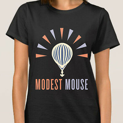 New MODEST MOUSE Logo Indie Rock Band Womeen's Black T-Shirt Size S to XL