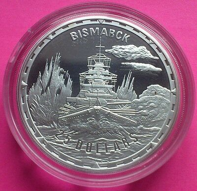 2005 Royal Mint Legendary Fighting Ships Bismarck $25 Silver Proof 10Z Coin