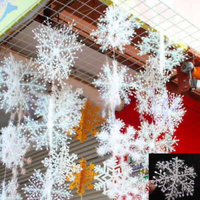 60pcs Classic White Snowflake Ornament Christmas Xmas Tree Hanging Decorations
