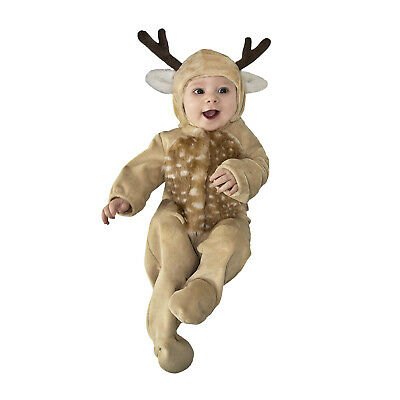 Infant Baby Buck Deer Halloween Costume Fur Jumpsuit Animal Newborn 0/3M 3/6M