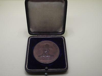 Fine Nelson Foudroyant Flagship medal - copper from ship .- original box