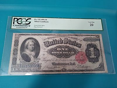 1891  $1.00  One Dollar Silver Certificate (Martha Note) PCGS VF20