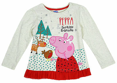 Girls Peppa Pig Festive Friends Reindeer Robin Long Sleeve Top 1 to 5 Years