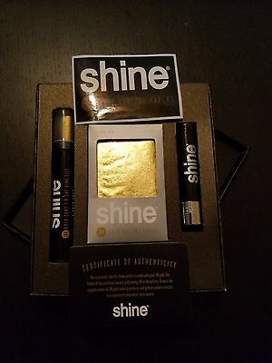 NEW Shine 2 Sheet Pack 24K Gold Rolling Papers Pre Rolled King Cone Gift Set Box