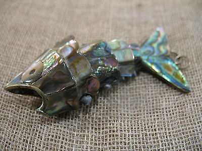 Vintage Mother Of Pearl Abalone Articulated Fish Bottle Opener