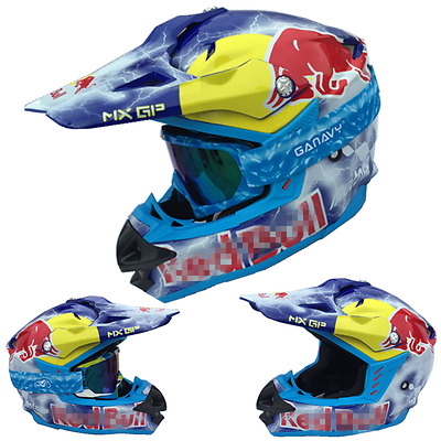RED BULL  HELMET MOTOCROSS FREESTYLE ENDURO CROSS SIZE M L XL XXL Lightning.