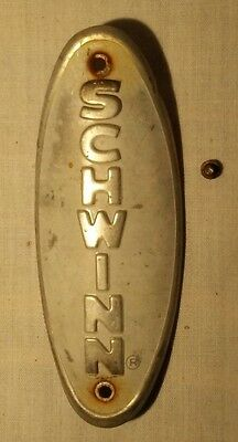Vintage Schwinn FLEET Bicycle Head Badge LOGO Black on White 1970's
