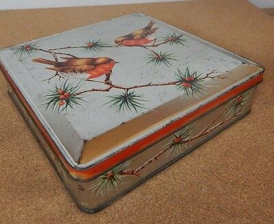 1964 Huntley and Palmers Robins Tin Christmas themed 15cm x15cm 4cm tall