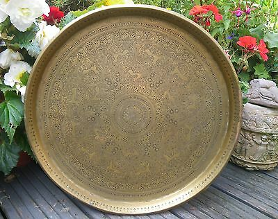Antique Large Heavy Brass Indian Table Tray~ Profuse Etched Decoration
