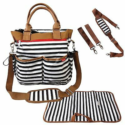 Baby Changing Bag Diaper Tote Nappy Bag 5 Piece Set Stylish Stripe Design