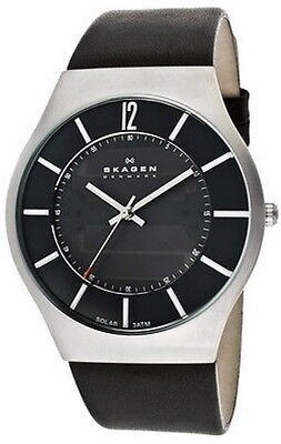 Men's Black Skagen Designer Leather Strap Watch Model 833XLSLB Solar Powered