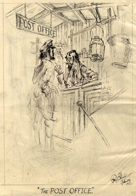 Roy G. Harris - 1951 Pen and Ink Drawing, Post Office