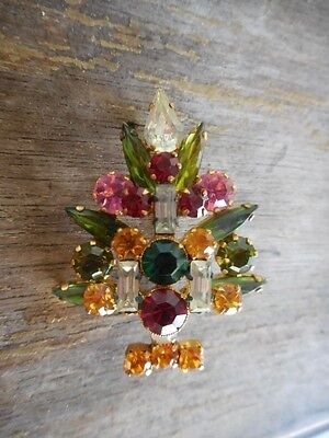 Vintage 3 Candle Rhinestone Christmas Tree Pin Made in Austria