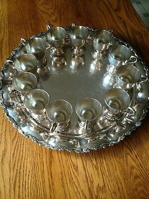 Monumental Sterling Silver Punch Cups Tray Set, Mexico 4185 Grams/9.36 Pounds