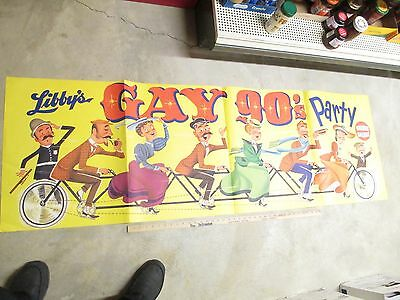 LIBBY'S 1950s GAY 90s advert store display sign 6 person bicycle BANNER 6' #1