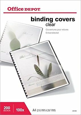 PVC Clear Binding Covers 200 micron A4 Pack of 100