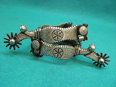 Nice Good Pair Of Full Silver  Mounted  - Dandy Pattern - Western Cowboy Spurs