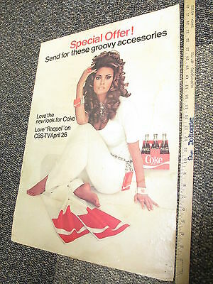 RAQUEL WELCH Coke Coca Cola 1960s mod fashion store display sign bell bottoms