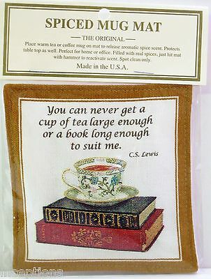 Alice's Cottage Cotton Scented Spiced Mug Mat Coaster Tea & Books - NEW