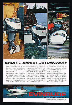 1964 Evinrude Outboard Boat Motor 9 1/2 hp Sportwin Vintage Photo Print Ad