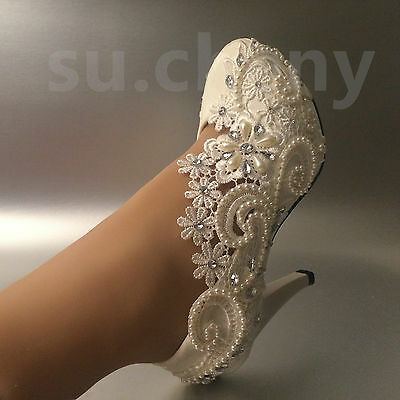 """2"""" 3"""" 4"""" heel white ivory pearl crystal lace Wedding shoes Bride pumps size 5-12"""