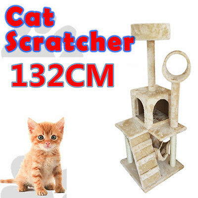 Large Cat Tree Tower Condo Scratcher Perch Tunnel Hideout Furniture House 132cm