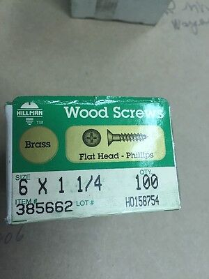 Vintage # 6 X 1 1/4 Flat HEAD BRASS Phillips WOOD SCREWS-100 PER BOX Hillman