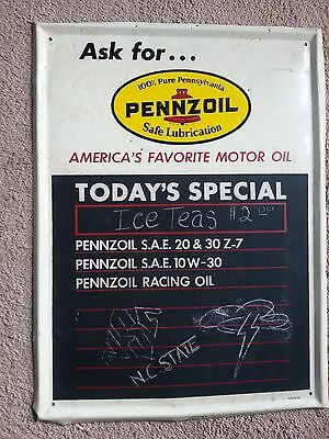 Origional pennzoil metal sign with chalkboard