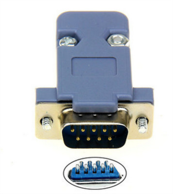 9 Pin Male D-Sub Plug Solder Connector RS232 Serial DB9 and Grey Hood WL