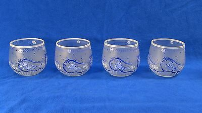 + Hand Painted Blown Frosted Glass Set of Four Tea Cups Candle Holders