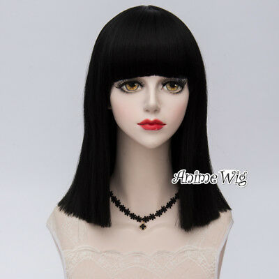 Basic Full Natural Black 40CM Lolita Medium Straight Neat Bang Women Cosplay Wig